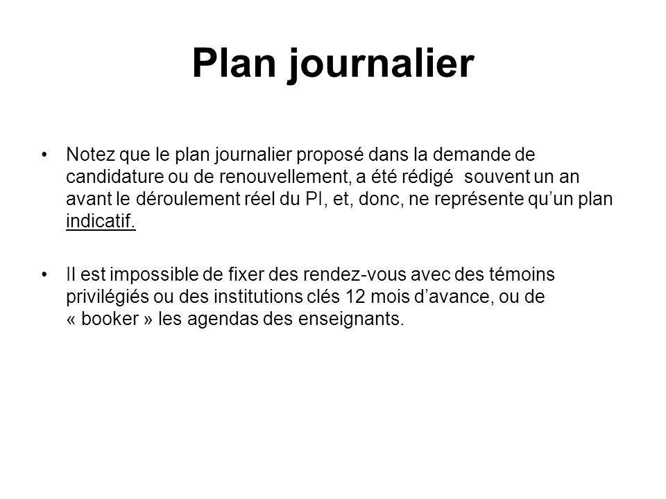 Plan journalier