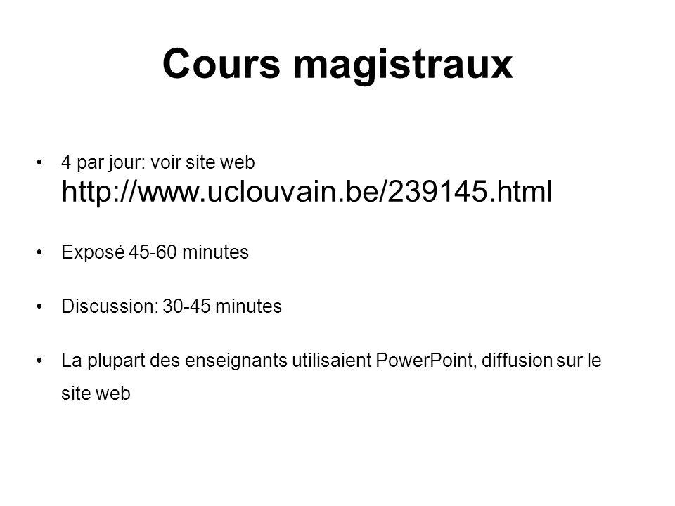 Cours magistraux 4 par jour: voir site web http://www.uclouvain.be/239145.html. Exposé 45-60 minutes.