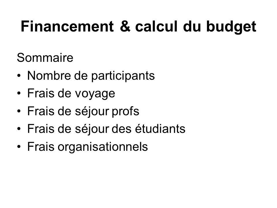 Financement & calcul du budget