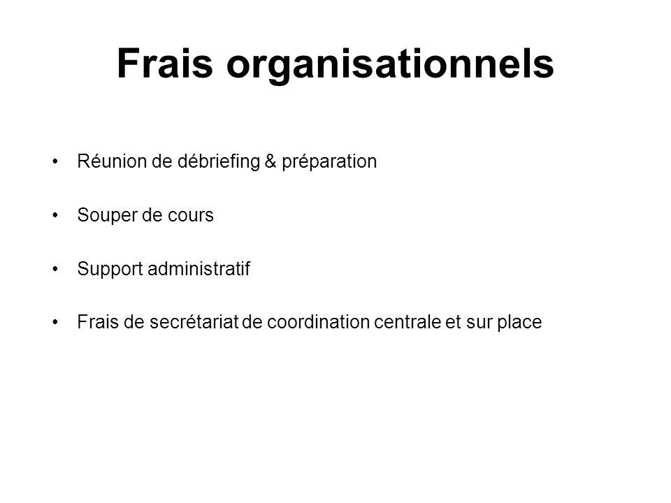 Frais organisationnels