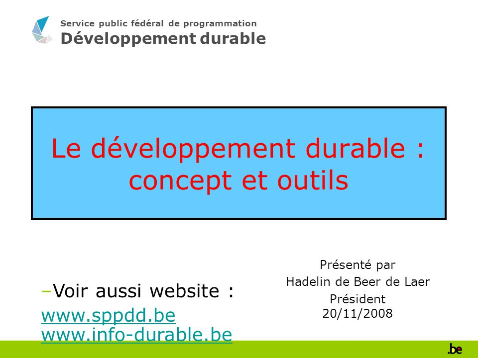 Le développement durable : concept et outils