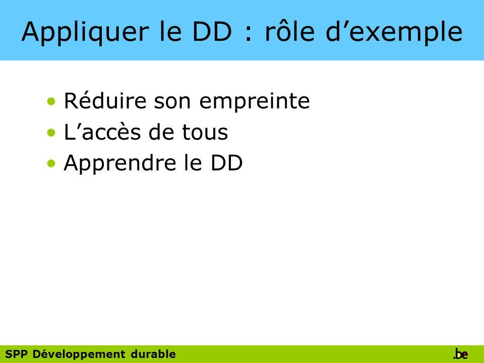 Appliquer le DD : rôle d'exemple