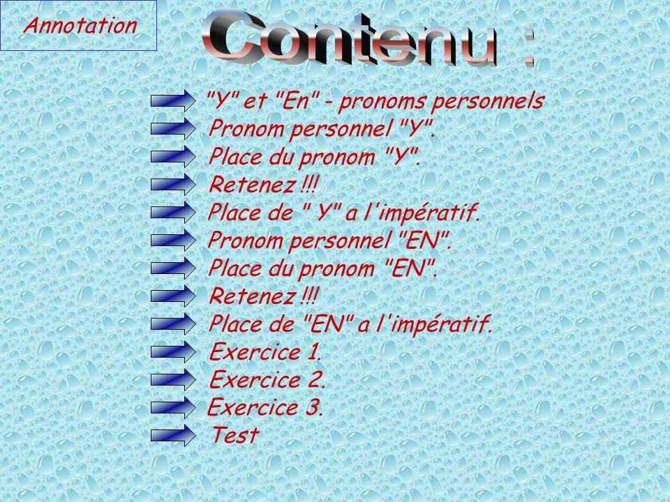 Contenu : Annotation Y et En - pronoms personnels
