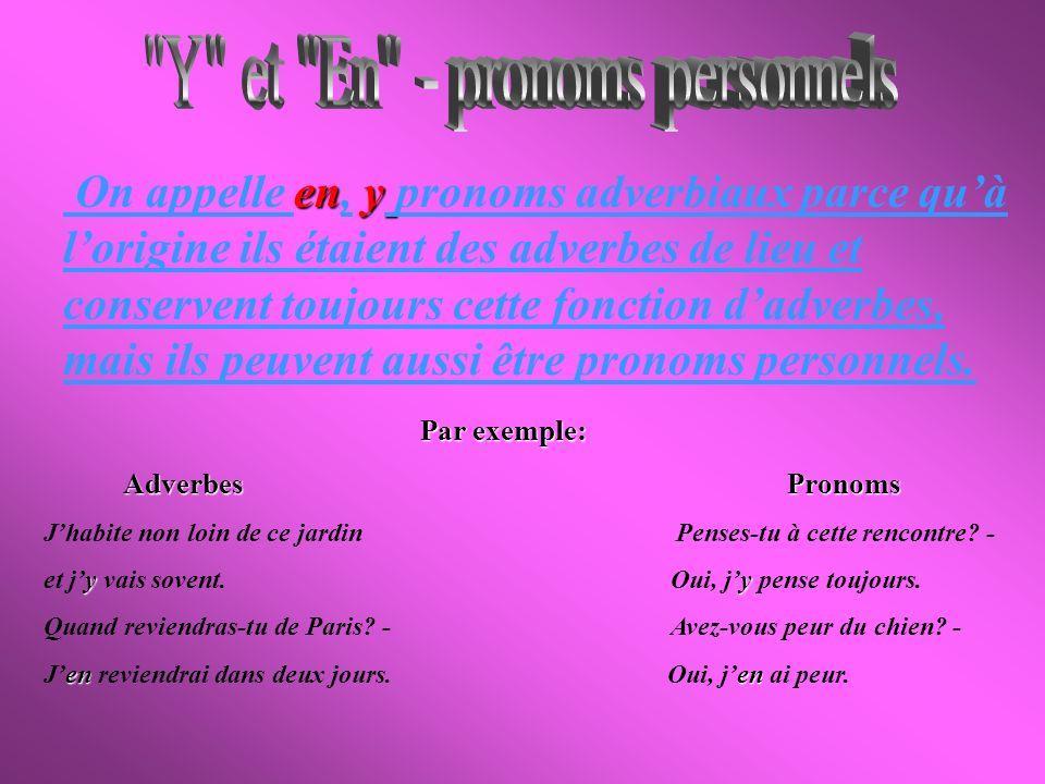 Y et En - pronoms personnels