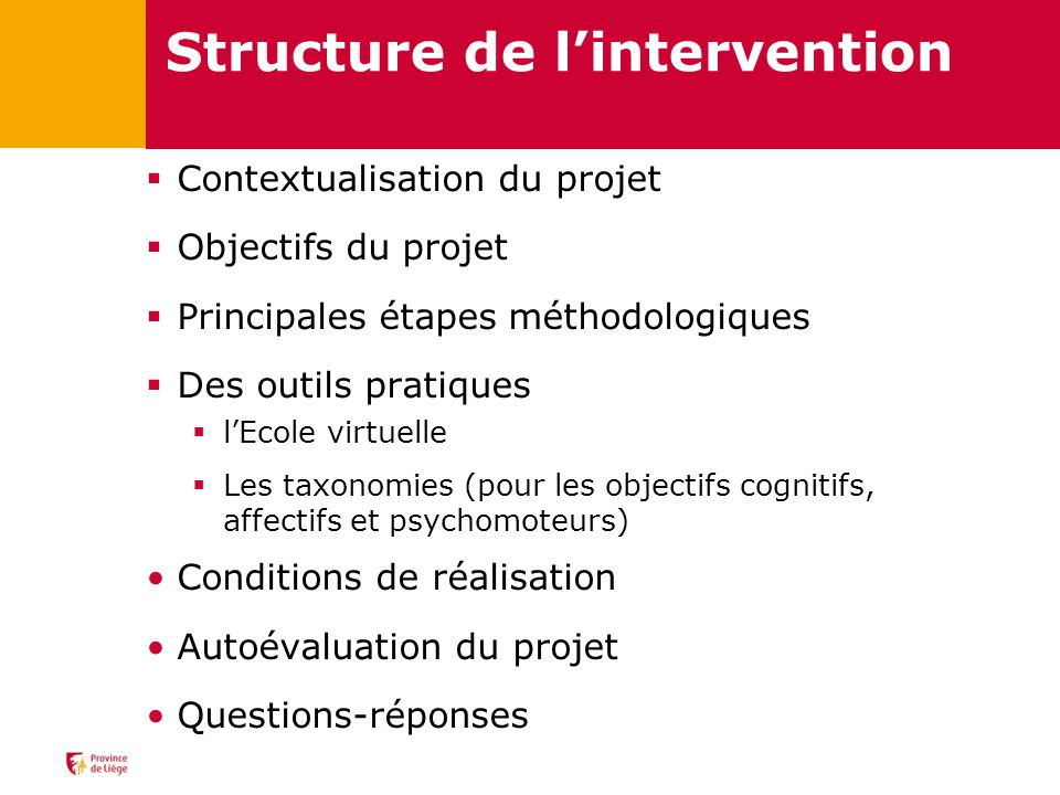 Structure de l'intervention