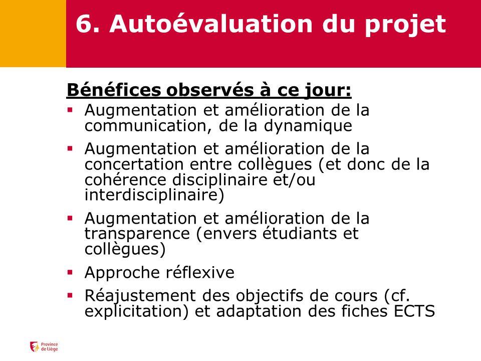 6. Autoévaluation du projet