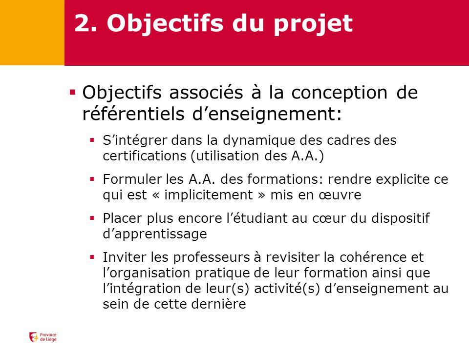 2. Objectifs du projet Objectifs associés à la conception de référentiels d'enseignement: