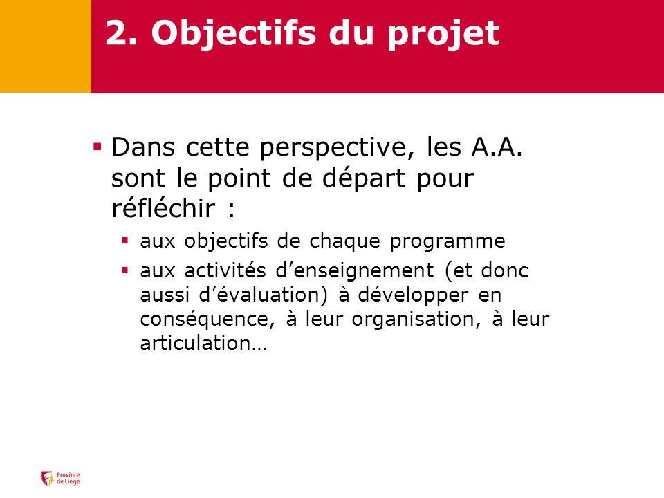 2. Objectifs du projet Dans cette perspective, les A.A. sont le point de départ pour réfléchir : aux objectifs de chaque programme.