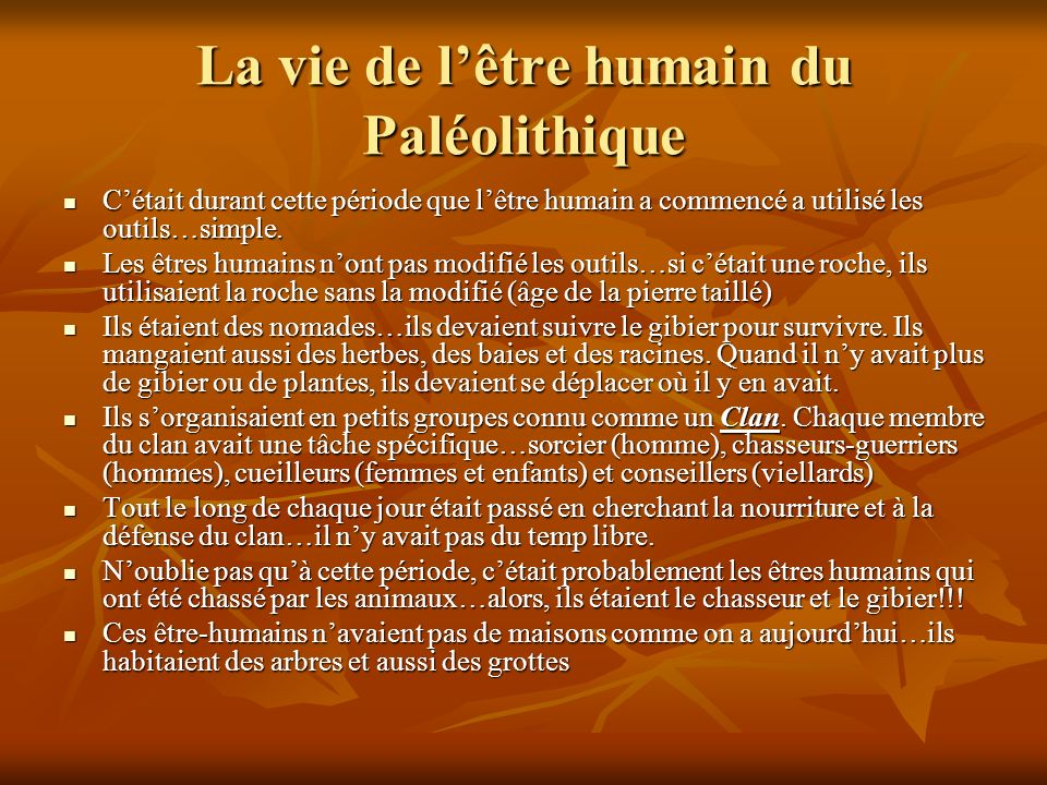 La vie de l'être humain du Paléolithique