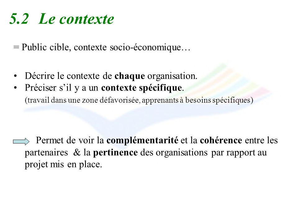 5.2 Le contexte = Public cible, contexte socio-économique…