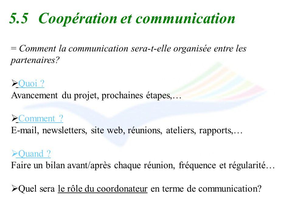 5.5 Coopération et communication