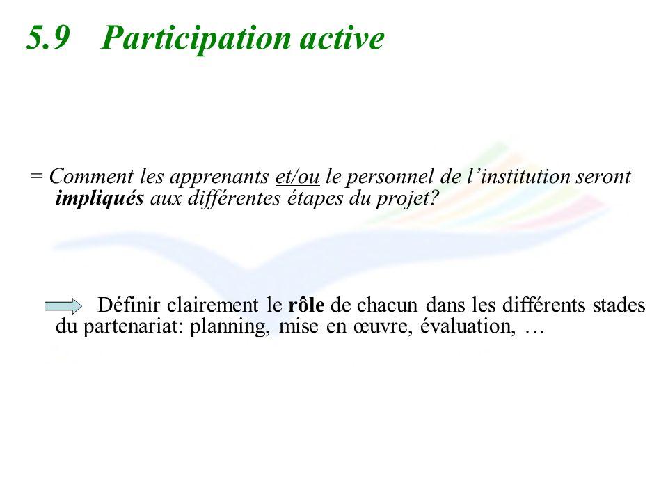 5.9 Participation active = Comment les apprenants et/ou le personnel de l'institution seront impliqués aux différentes étapes du projet