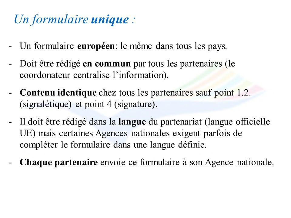 Un formulaire unique : Un formulaire européen: le même dans tous les pays.