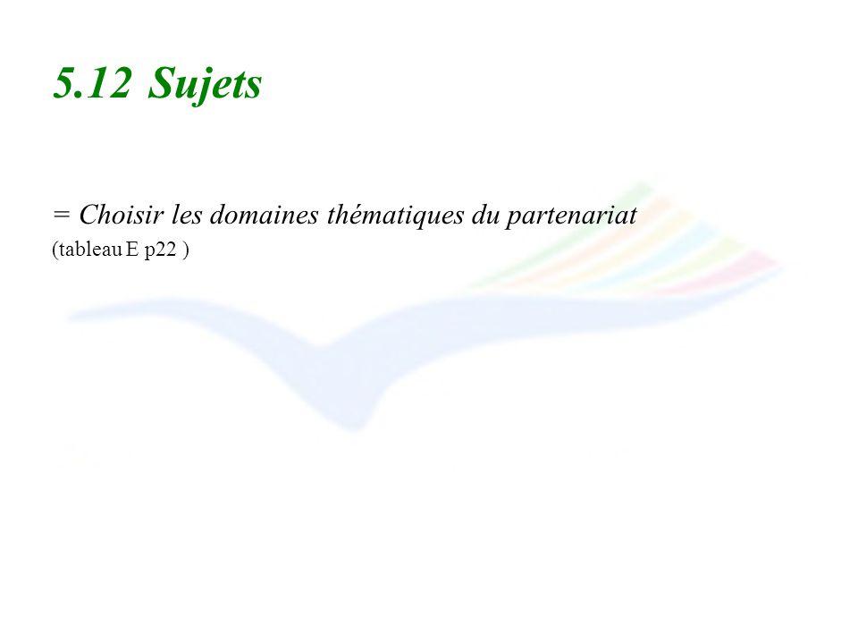 5.12 Sujets = Choisir les domaines thématiques du partenariat