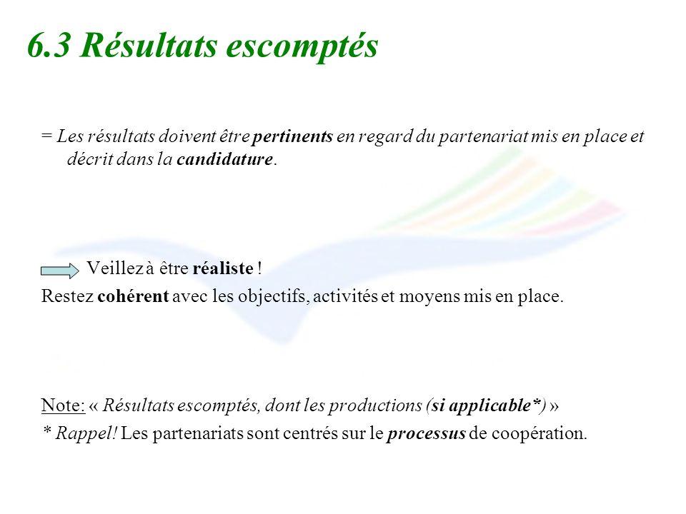 6.3 Résultats escomptés = Les résultats doivent être pertinents en regard du partenariat mis en place et décrit dans la candidature.