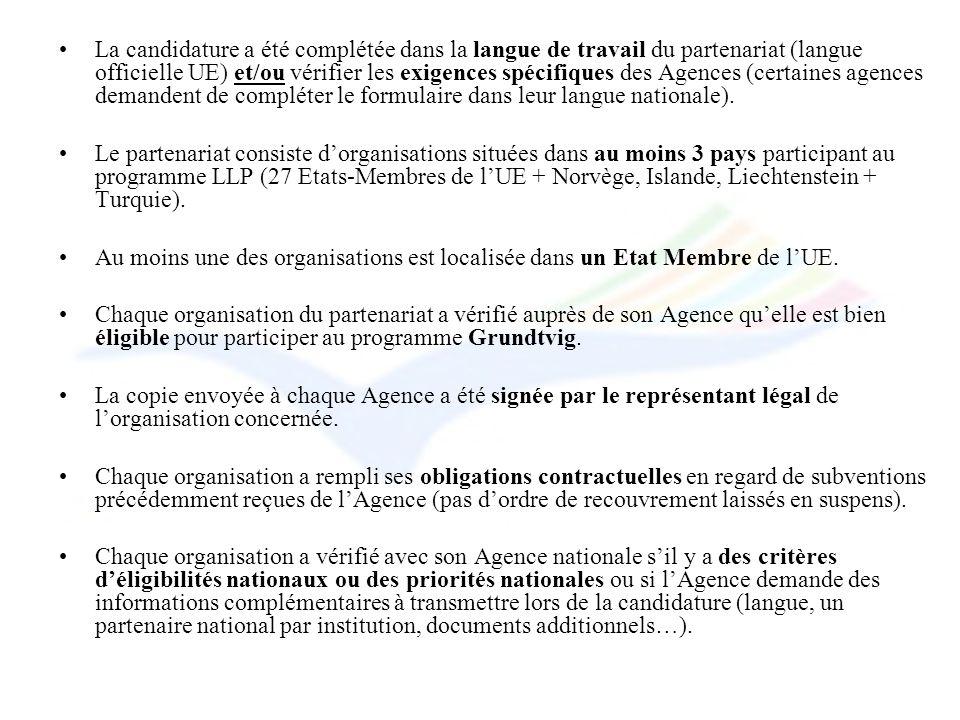 La candidature a été complétée dans la langue de travail du partenariat (langue officielle UE) et/ou vérifier les exigences spécifiques des Agences (certaines agences demandent de compléter le formulaire dans leur langue nationale).
