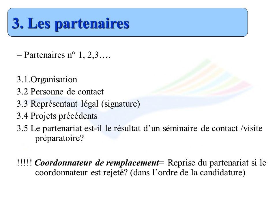 3. Les partenaires = Partenaires n° 1, 2,3…. 3.1.Organisation