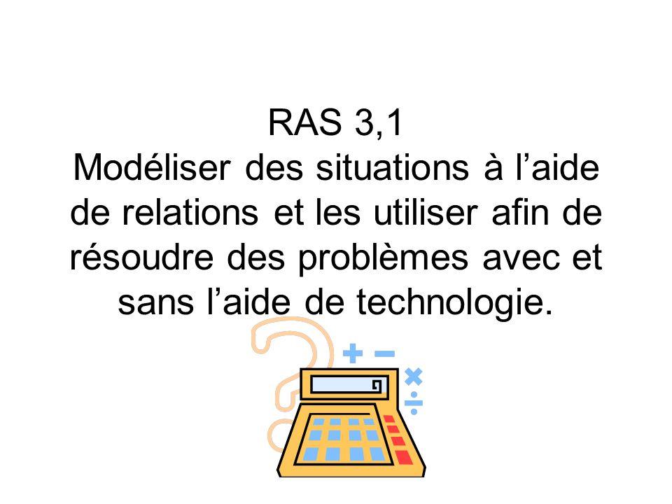 RAS 3,1 Modéliser des situations à l'aide de relations et les utiliser afin de résoudre des problèmes avec et sans l'aide de technologie.