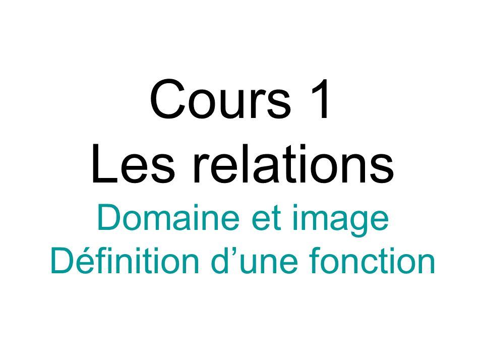 Cours 1 Les relations Domaine et image Définition d'une fonction