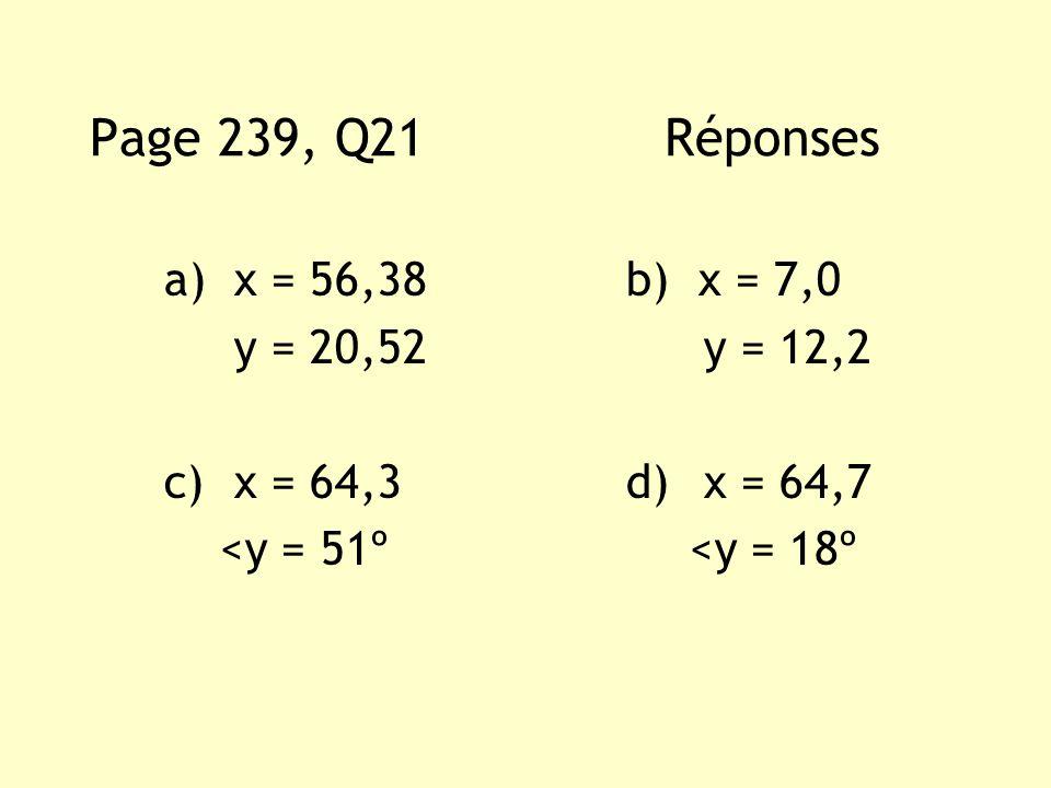 Page 239, Q21 Réponses x = 56,38 b) x = 7,0 y = 20,52 y = 12,2