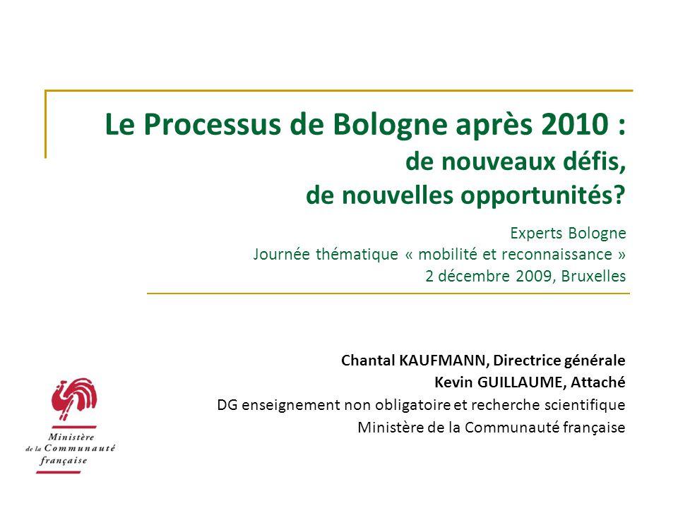 Le Processus de Bologne après 2010 : de nouveaux défis, de nouvelles opportunités Experts Bologne Journée thématique « mobilité et reconnaissance » 2 décembre 2009, Bruxelles