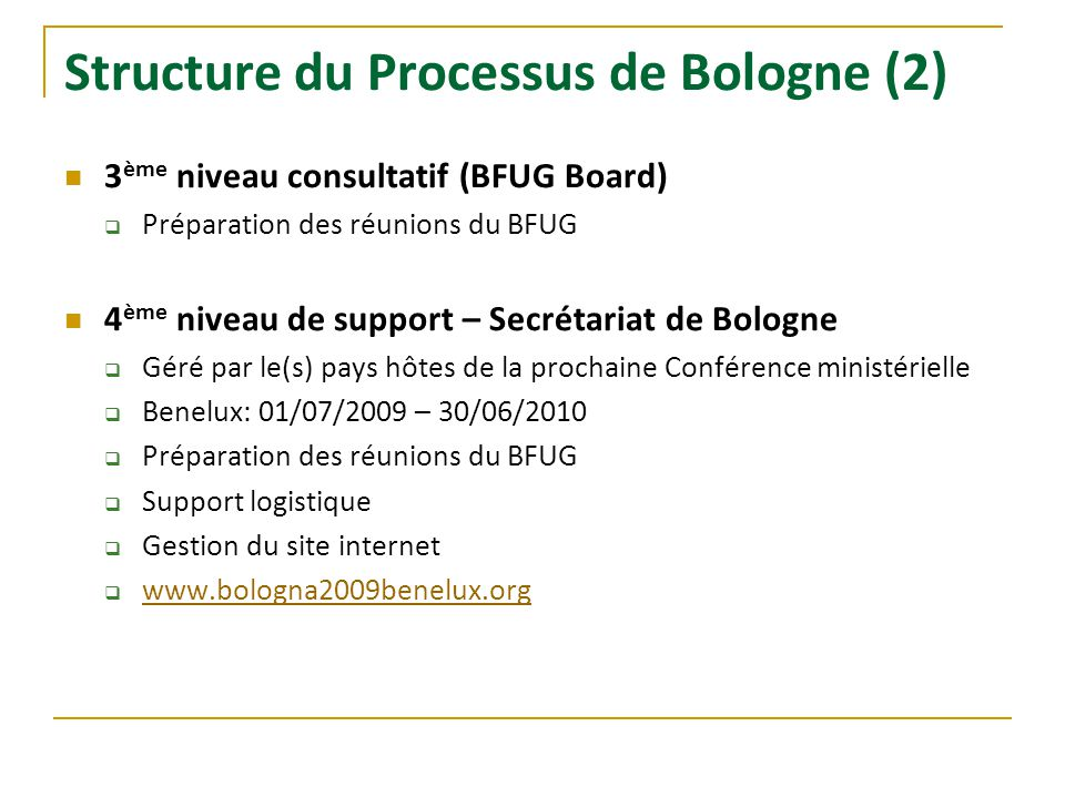 Structure du Processus de Bologne (2)