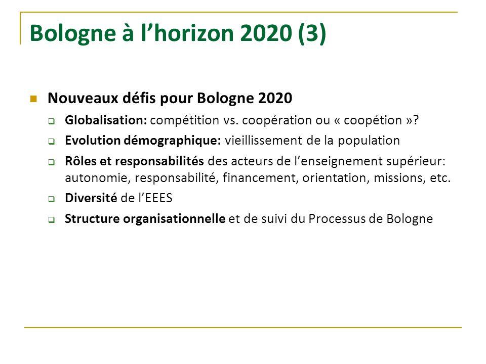 Bologne à l'horizon 2020 (3) Nouveaux défis pour Bologne 2020