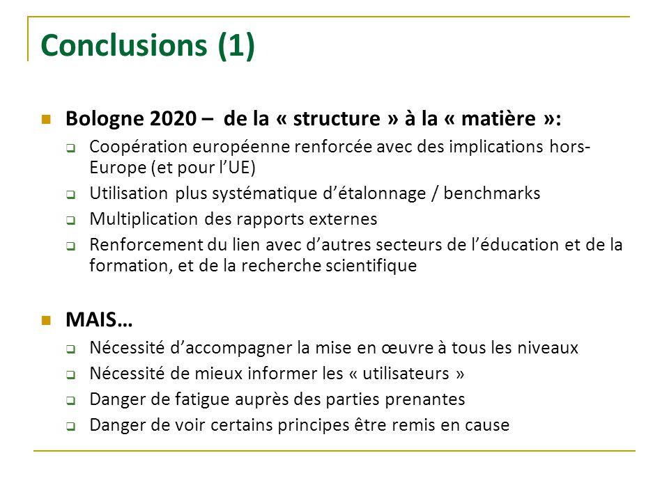 Conclusions (1) Bologne 2020 – de la « structure » à la « matière »: