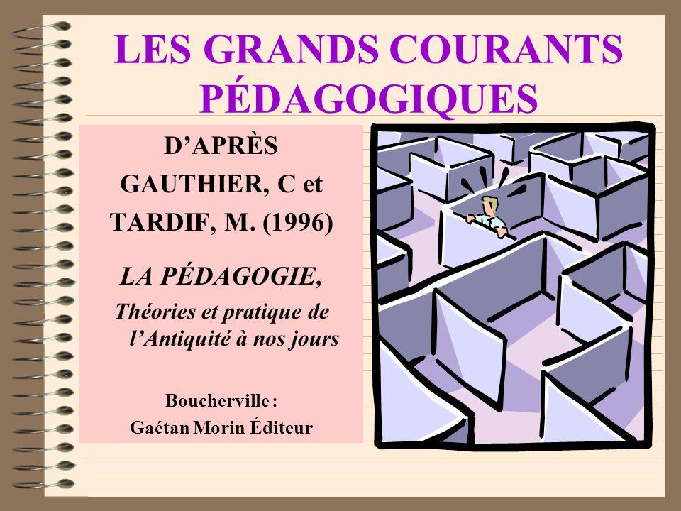 LES GRANDS COURANTS PÉDAGOGIQUES