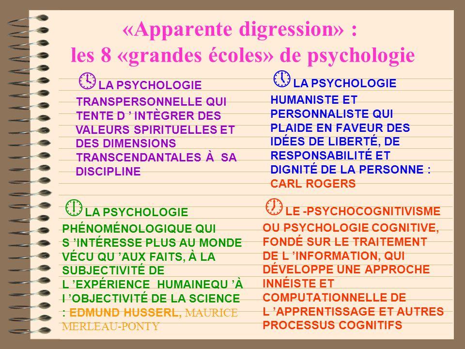 «Apparente digression» : les 8 «grandes écoles» de psychologie