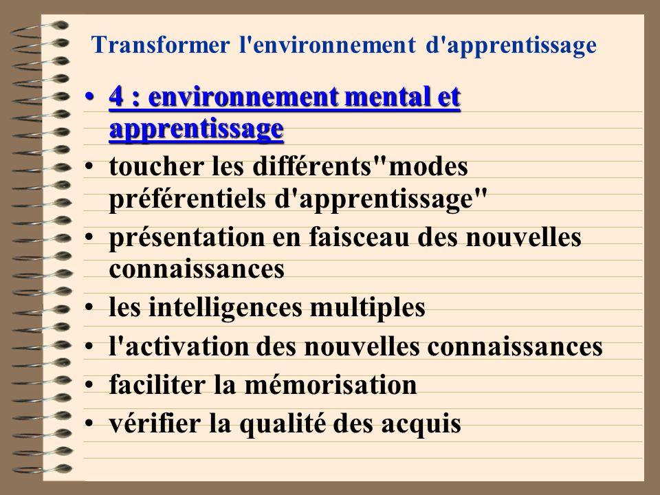 Transformer l environnement d apprentissage