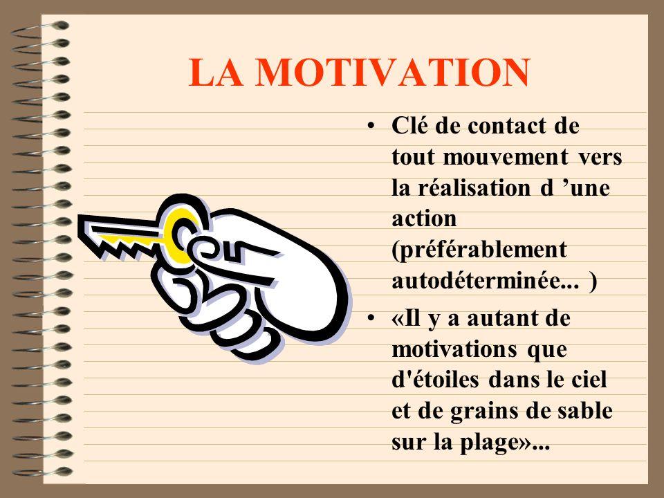 LA MOTIVATION Clé de contact de tout mouvement vers la réalisation d 'une action (préférablement autodéterminée... )