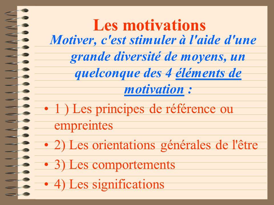 Les motivations Motiver, c est stimuler à l aide d une grande diversité de moyens, un quelconque des 4 éléments de motivation :