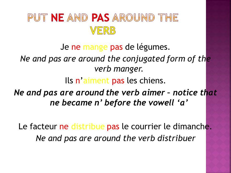 Put ne and pas around the verb
