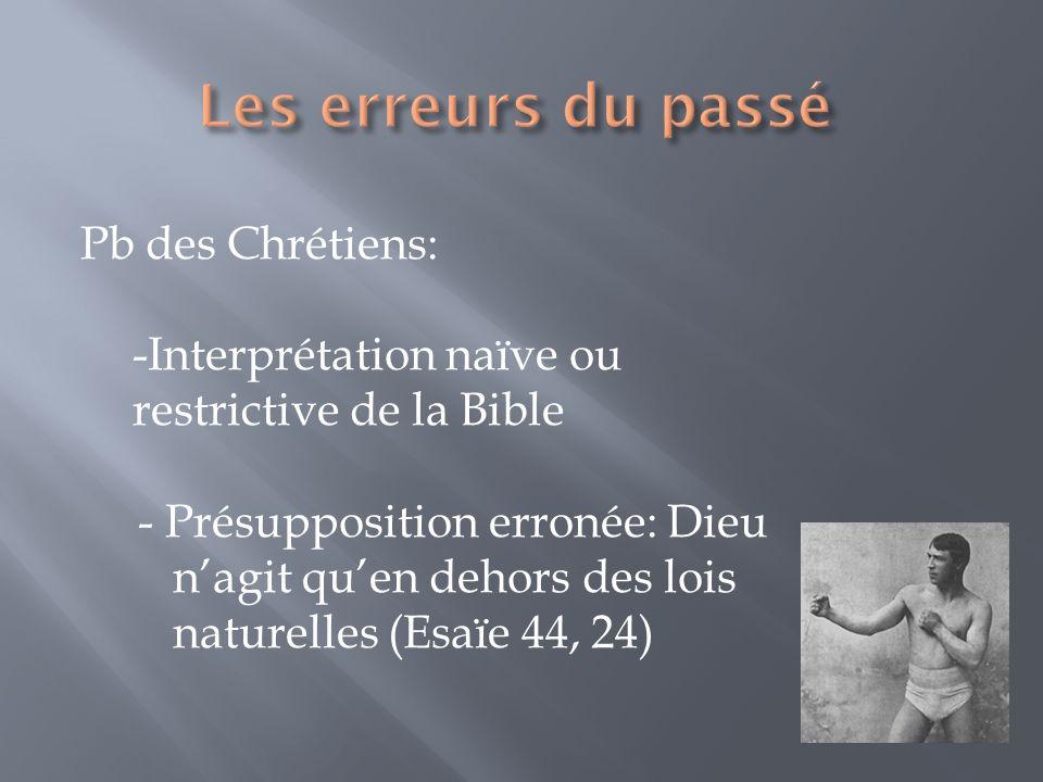 Les erreurs du passé Pb des Chrétiens: