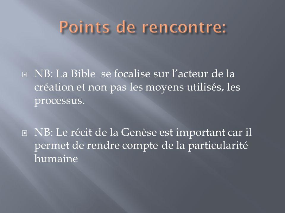 Points de rencontre: NB: La Bible se focalise sur l'acteur de la création et non pas les moyens utilisés, les processus.