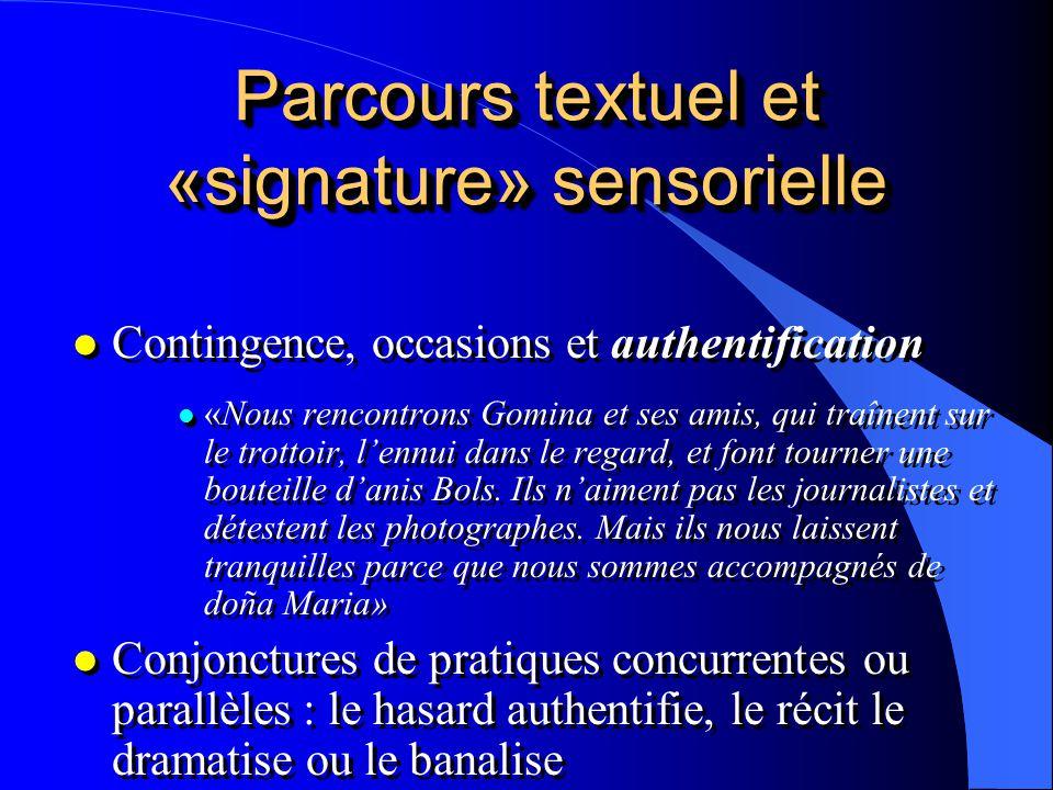 Parcours textuel et «signature» sensorielle