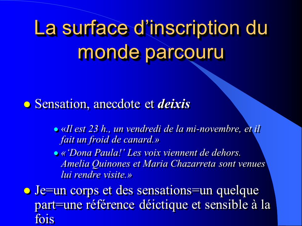 La surface d'inscription du monde parcouru