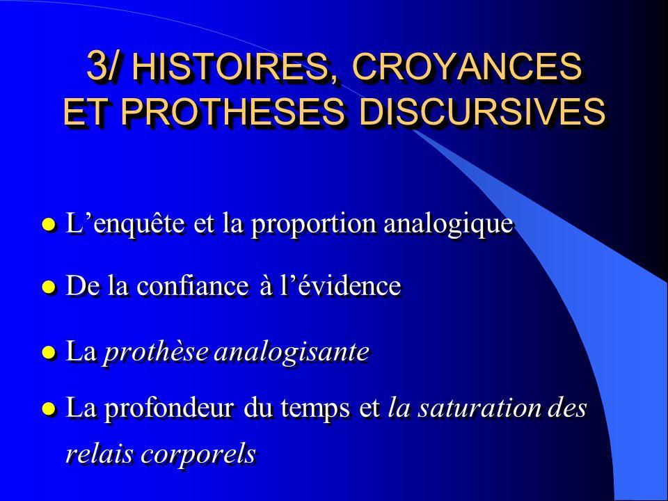 3/ HISTOIRES, CROYANCES ET PROTHESES DISCURSIVES