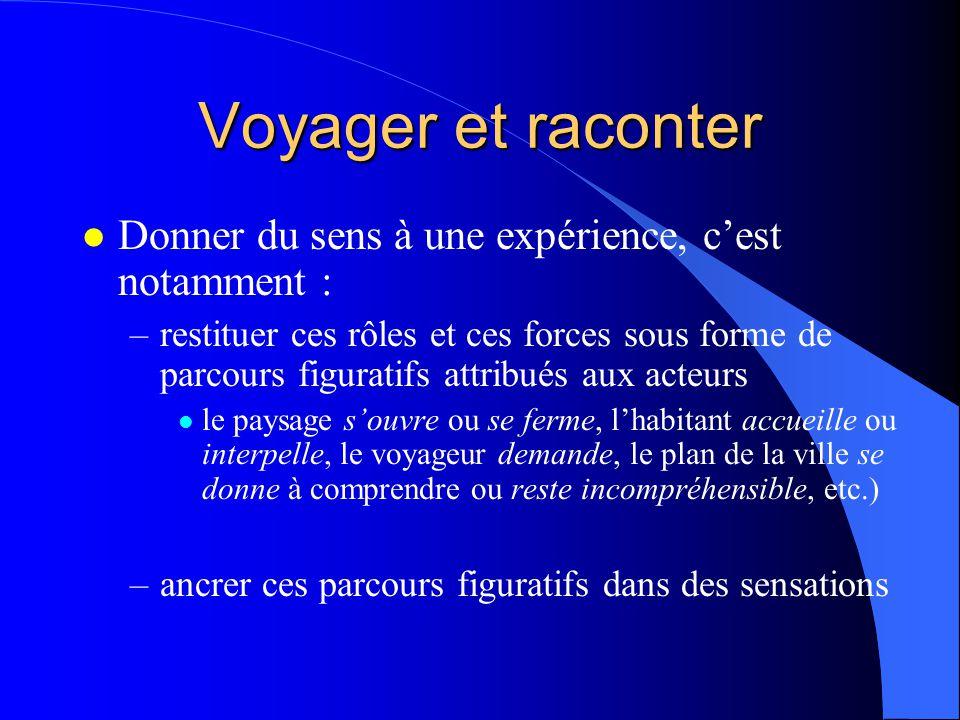 Voyager et raconter Donner du sens à une expérience, c'est notamment :