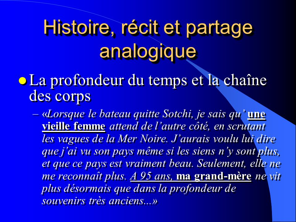 Histoire, récit et partage analogique