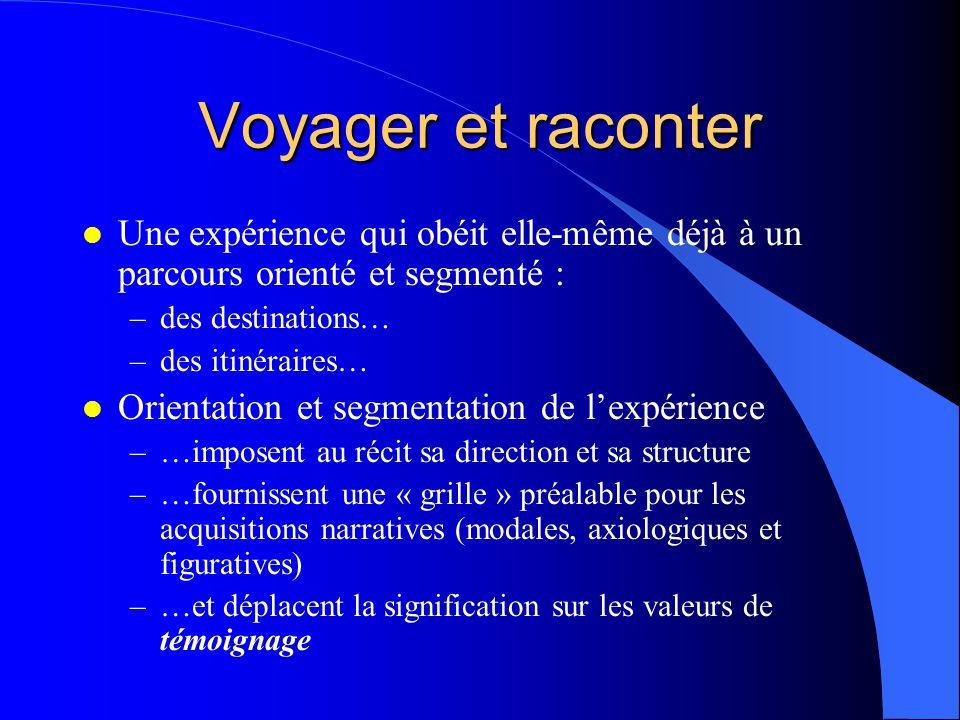 Voyager et raconter Une expérience qui obéit elle-même déjà à un parcours orienté et segmenté : des destinations…