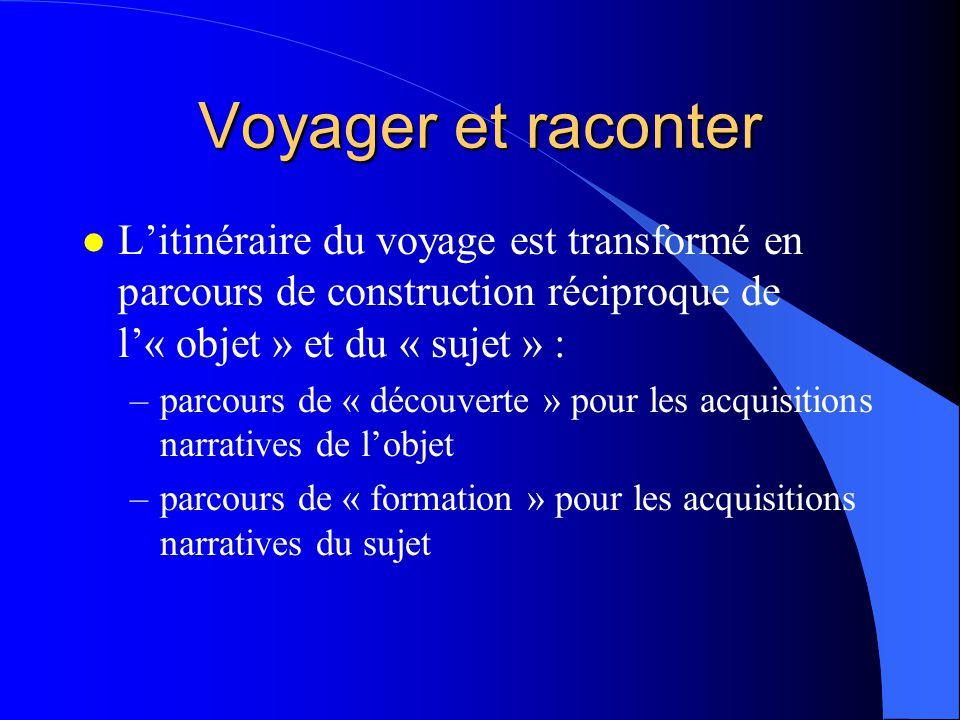 Voyager et raconter L'itinéraire du voyage est transformé en parcours de construction réciproque de l'« objet » et du « sujet » :