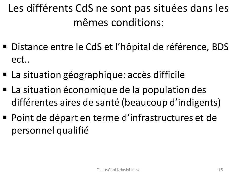 Les différents CdS ne sont pas situées dans les mêmes conditions: