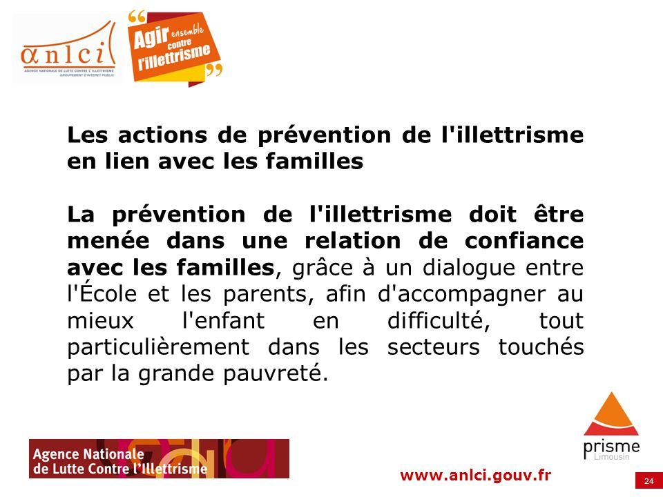 Les actions de prévention de l illettrisme en lien avec les familles