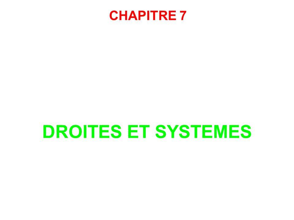 CHAPITRE 7 DROITES ET SYSTEMES