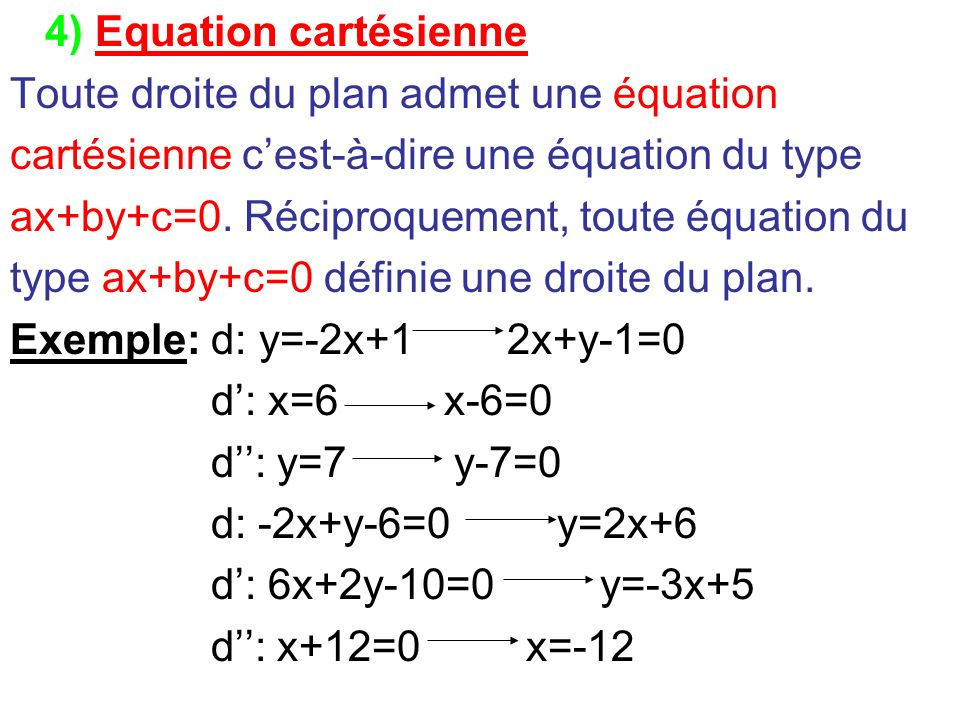 4) Equation cartésienne