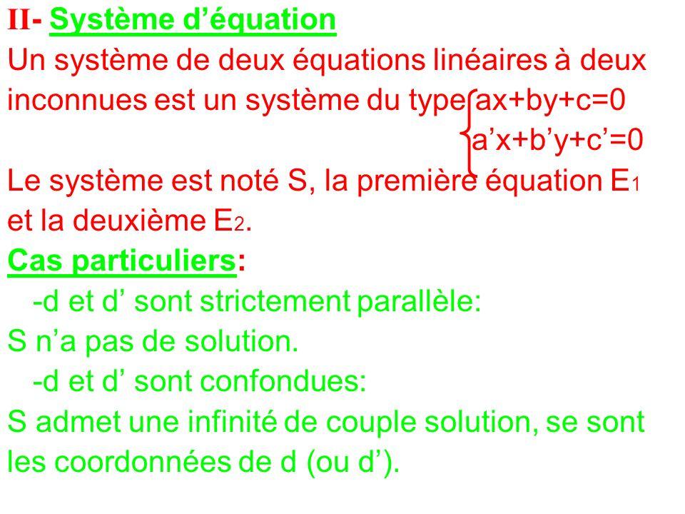 II- Système d'équation