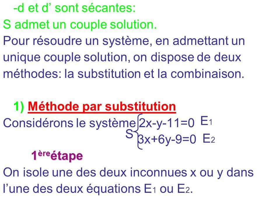 -d et d' sont sécantes: S admet un couple solution. Pour résoudre un système, en admettant un. unique couple solution, on dispose de deux.
