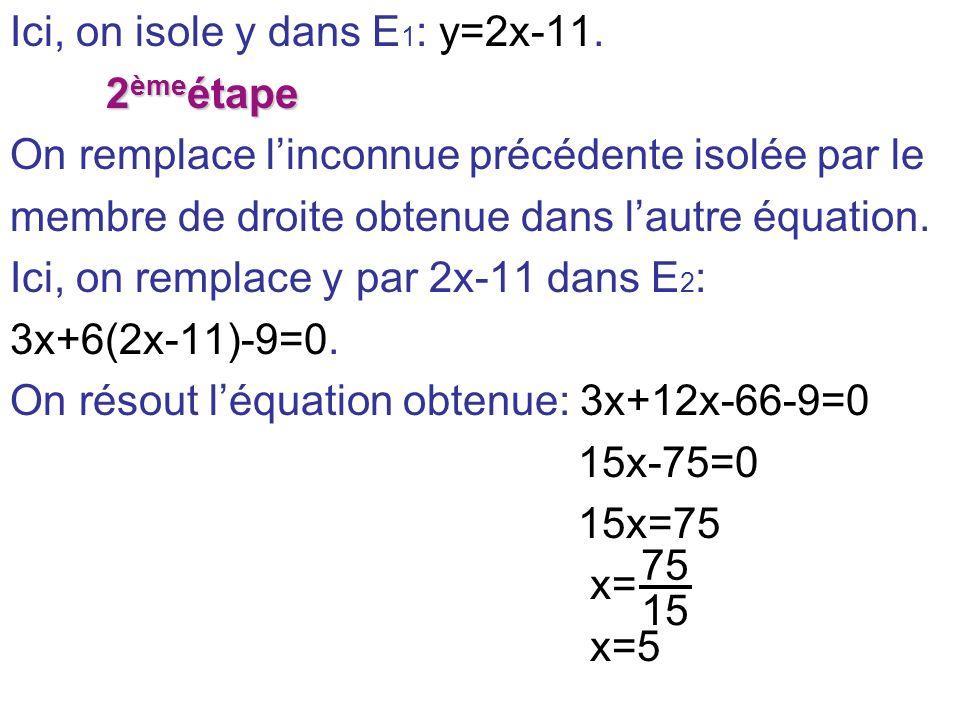 Ici, on isole y dans E1: y=2x-11.